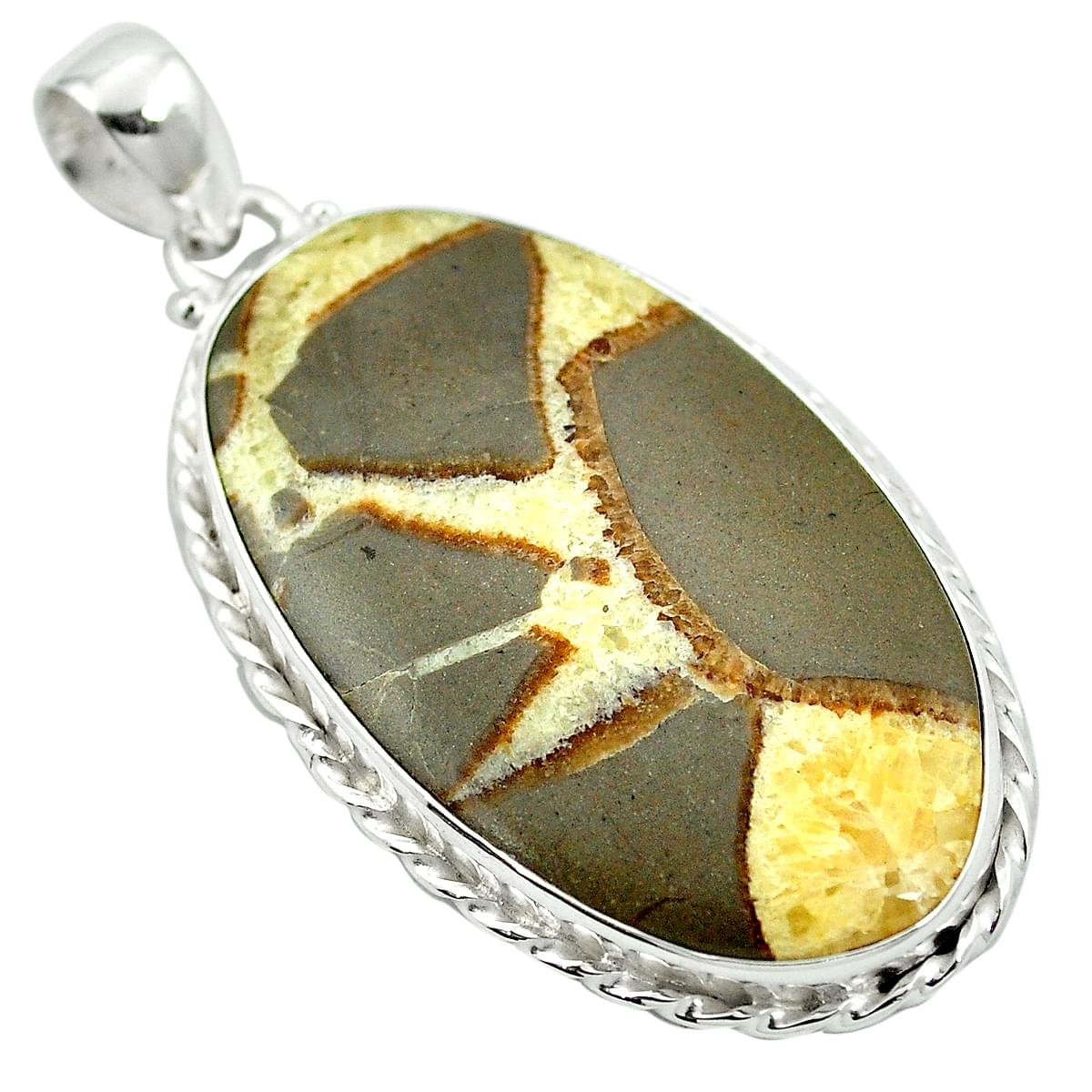 Solid 925 Sterling Silver Jewelry Natural Yellow Septarian Gemstone Ring Size 10