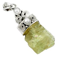 50.68cts natural green hiddenite rough pearl 925 sterling silver pendant m49225