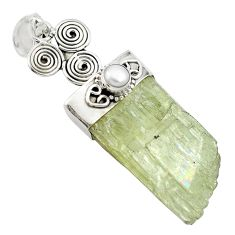 67.41cts natural green hiddenite rough pearl 925 sterling silver pendant m49226