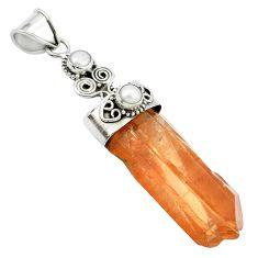 43.68cts natural tangerine lemurian quartz pearl 925 silver pendant m49231