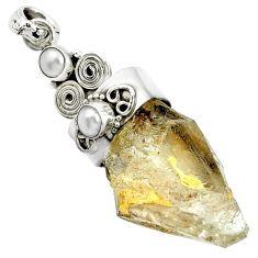 42.91cts natural brown elestial quartz rough pearl 925 silver pendant m49234