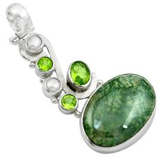 Natural green moss agate peridot 925 sterling silver pendant m50021