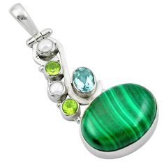 925 silver natural green malachite (pilot's stone) pendant jewelry m50033