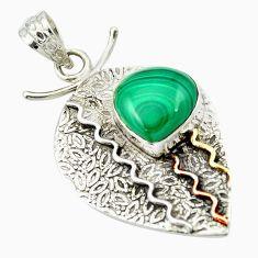 Natural green malachite (pilot's stone) 925 silver two tone pendant m50212