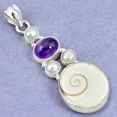 Natural white shiva eye amethyst pearl 925 sterling silver pendant m5022