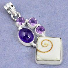 925 sterling silver natural white shiva eye amethyst pendant jewelry m5024