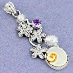 Natural white shiva eye amethyst pearl 925 silver flower pendant m5029