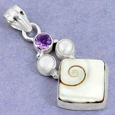 925 sterling silver natural white shiva eye amethyst pearl pendant m5031