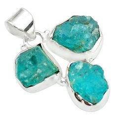 Blue apatite rough fancy 925 sterling silver pendant jewelry m50332