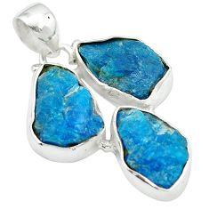 925 sterling silver blue apatite rough fancy shape pendant jewelry m50336