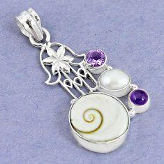Natural white shiva eye pearl 925 silver hand of god hamsa pendant jewelry m5039
