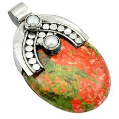 49.88cts natural green unakite pearl 925 sterling silver pendant jewelry m50442