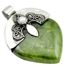 67.87cts natural green aventurine pearl 925 sterling silver pendant m50458