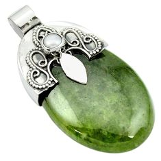 54.18cts natural green aventurine pearl 925 sterling silver pendant m50466