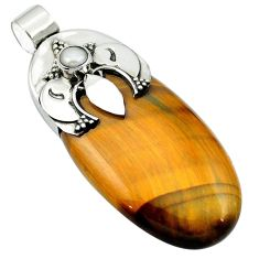 47.91cts natural brown tiger's eye pearl 925 sterling silver pendant m50493