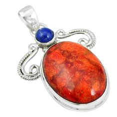 Natural red sponge coral lapis lazuli 925 sterling silver pendant m5065