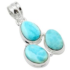 Natural blue larimar 925 sterling silver pendant jewelry m51744