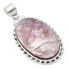 Natural purple muscovite 925 sterling silver pendant jewelry m52345