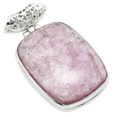 Natural purple muscovite 925 sterling silver pendant jewelry m52375