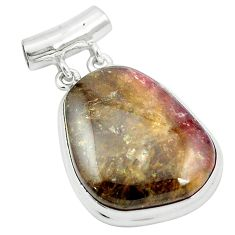 Natural pink bio tourmaline 925 sterling silver pendant jewelry m52461