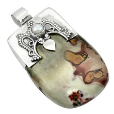 Natural brown coffee bean jasper pearl 925 silver pendant jewelry m53534
