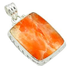 Natural orange calcite 925 sterling silver pendant jewelry m53742