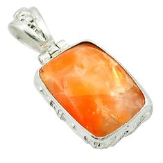 Natural orange calcite 925 sterling silver pendant jewelry m53754