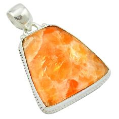 Natural orange calcite 925 sterling silver pendant jewelry m53756