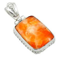 Natural orange calcite 925 sterling silver pendant jewelry m53757