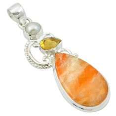 Natural orange calcite citrine 925 sterling silver pendant jewelry m53795