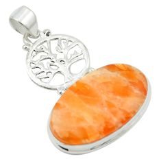 Natural orange calcite 925 sterling silver tree of life pendant m53799