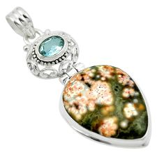 Natural multi color ocean sea jasper (madagascar) 925 silver pendant m53820