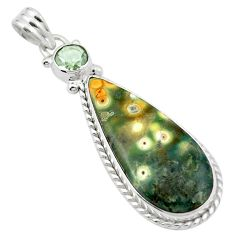 Natural multi color ocean sea jasper (madagascar) 925 silver pendant m53823