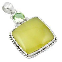 Natural olive opal amethyst 925 sterling silver pendant m53848
