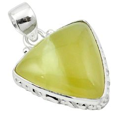 Natural olive opal 925 sterling silver pendant jewelry m53856