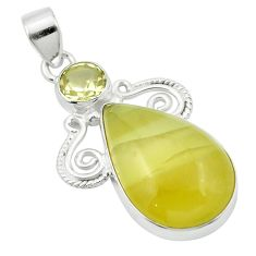 925 sterling silver natural olive opal green amethyst pendant m53877