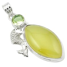 925 silver natural olive opal amethyst fish pendant jewelry m53880