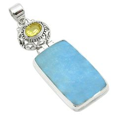 Natural blue angelite topaz 925 sterling silver pendant jewelry m54029