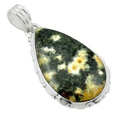 Natural multi color ocean sea jasper (madagascar) 925 silver pendant m54088