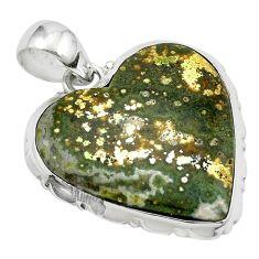 Natural multi color ocean sea jasper (madagascar) 925 silver pendant m54090
