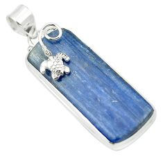 Rare natural blue kyanite 925 sterling silver turtle pendant jewelry m55009