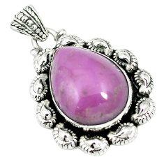 Natural purple phosphosiderite (hope stone) 925 silver pendant m55491