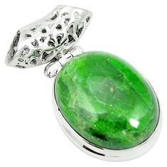 Natural green chrome diopside 925 sterling silver pendant m55522