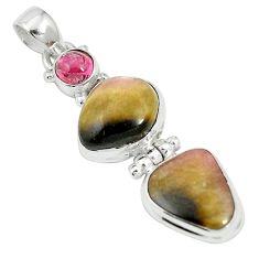 Natural pink bio tourmaline tourmaline 925 silver pendant jewelry m55589