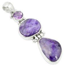 Natural purple charoite (siberian) amethyst 925 silver pendant m55607