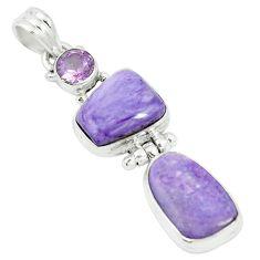 Natural purple charoite (siberian) amethyst 925 silver pendant m55615