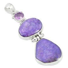 925 silver natural purple charoite (siberian) amethyst pendant m55620