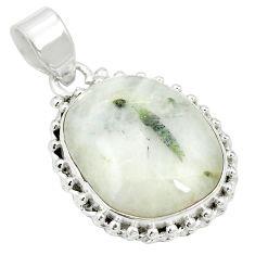 Natural green tourmaline in quartz 925 sterling silver pendant m56632