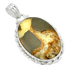 Natural brown septarian gonads 925 sterling silver pendant m56747
