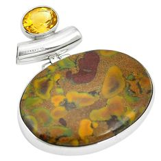 Natural brown bamboo leaf jasper citrine 925 silver pendant m56750